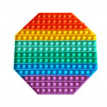 Антистрес Pop it Fidget игра 30x30cm - осмоъгълник / дъга
