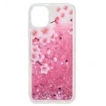 Луксозен твърд гръб 3D Water Case за Samsung Galaxy A20s - течен гръб с розов брокат / Peach blossom