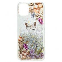 Луксозен твърд гръб 3D Water Case за Samsung Galaxy A20s - течен гръб с сребрист брокат / цветя и пеперуда