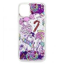 Луксозен твърд гръб 3D Water Case за Samsung Galaxy A20s - течен гръб с лилав брокат / бонбони
