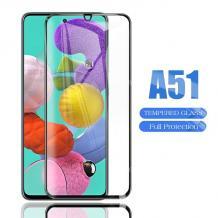 9D full cover Tempered glass Full Glue screen protector Samsung Galaxy A51 / Извит стъклен скрийн протектор с лепило от вътрешната страна за Samsung Galaxy A51 - черен