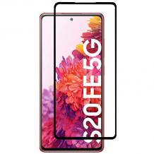 5D full cover Tempered glass Full Glue screen protector Samsung Galaxy S20 FE / Извит стъклен скрийн протектор с лепило от вътрешната страна за Samsung Galaxy S20 FE - черен