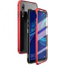 Магнитен калъф Bumper Case 360° FULL за Huawei P Smart 2019 - прозрачен / червена рамка