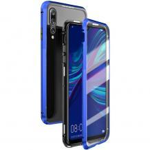 Магнитен калъф Bumper Case 360° FULL за Huawei P Smart 2019 - прозрачен / синя рамка