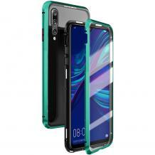 Магнитен калъф Bumper Case 360° FULL за Huawei P Smart 2019 - прозрачен / зелена рамка