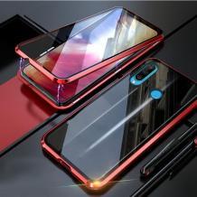 Магнитен калъф Bumper Case 360° FULL за Huawei P Smart Z / Y9 Prime 2019 - прозрачен / червена рамка