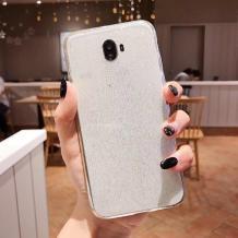 Силиконов калъф / гръб / TPU Bling за Samsung Galaxy J4 Plus 2018 - прозрачен / брокат