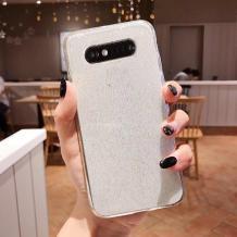Силиконов калъф / гръб / TPU Bling за Samsung Galaxy S10 Lite / S10e - прозрачен / брокат