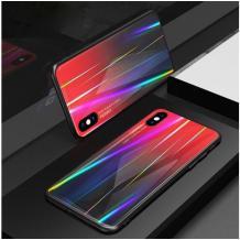 Луксозен стъклен твърд гръб Aurora за Samsung Galaxy A40 - преливащ / червен