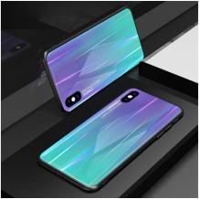 Луксозен стъклен твърд гръб Aurora за Samsung Galaxy A40 - преливащ / лилав