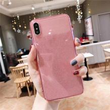Силиконов калъф / гръб / TPU Bling за Samsung Galaxy A30 - прозрачен / розов / брокат
