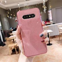 Силиконов калъф / гръб / TPU Bling за Samsung Galaxy S10 - прозрачен / розов / брокат