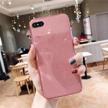 Силиконов калъф / гръб / TPU Bling за Huawei Y7 2018 / Y7 2018 Prime - прозрачен / розов / брокат