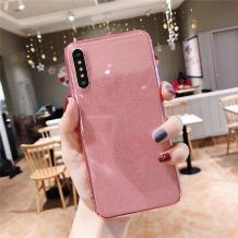 Силиконов калъф / гръб / TPU Bling за Huawei P30 - прозрачен / розов / брокат
