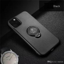 """Силиконов калъф / гръб / TPU iFace Hamee Magnetic Finger Ring Car Holder за Apple iPhone 11 6.1"""" - черен"""