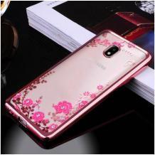 Луксозен силиконов калъф / гръб / TPU с камъни за Nokia 2.2 - прозрачен / розови цветя / Rose Gold кант