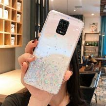 Луксозен гръб 3D за Xiaomi Redmi Note 9 - прозрачен / сребрист брокат / звездички