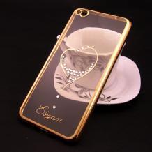 Луксозен силиконов калъф / гръб / TPU / Elegant с камъни за Xiaomi RedMi 4A - прозрачен със златист кант / сърце
