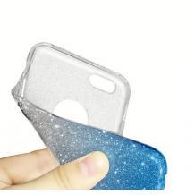Силиконов калъф / гръб / TPU за Xiaomi Redmi Note 9 - преливащ / сребристо и лилаво / брокат