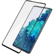 3D full cover Tempered glass Full Glue screen protector Samsung Galaxy S20 FE / Извит стъклен скрийн протектор с лепило от вътрешната страна за Samsung Galaxy S20 FE - черен