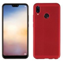 Луксозен твърд гръб за Xiaomi Mi 8 - червен / Grid
