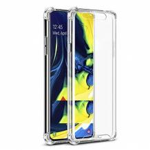 Удароустойчив силиконов калъф за Samsung Galaxy A80 - прозрачен