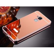 Луксозен алуминиев бъмпер с твърд гръб за Asus Zenfone 3 Max ZC520TL - огледален / Rose Gold