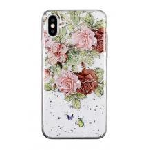 Луксозен силиконов калъф / гръб / TPU за Apple iPhone XS Max - Рози / блестящи частици