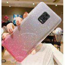 Силиконов калъф / гръб / TPU за Xiaomi Redmi Note 9S / Note 9 Pro - преливащ / сребристо и розово / брокат