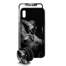 Луксозен твърд гръб 3in1 със стъклен протектор и Popsocket за Apple iPhone 7 / iPhone 8 - Tattoo man