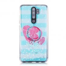 Луксозен силиконов калъф / гръб / RUBY TPU с Popsocket за Xiaomi Redmi Note 8 Pro - тюркоаз / love