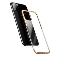 Луксозен твърд гръб Baseus Glitter Clear Case за Apple iPhone 11 6.1 - прозрачен / златист кант