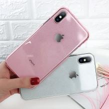 Силиконов калъф / гръб / TPU Bling за Samsung Galaxy J4 Plus 2018 - прозрачен / розов / брокат