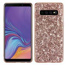 Луксозен твърд гръб с камъни за Samsung Galaxy S10 - Rose Gold