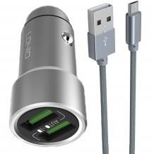 Универсално зарядно за кола LDNIO C401 Zinc Alloy 3.6A 2 Port USB Car Charger + Micro USB Cable  за Samsung, Lenovo, LG, HTC, Sony, Nokia, Huawei, ZTE, BlackBerry, Xiaomi и др. - сив