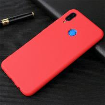 Силиконов калъф / гръб / TPU за Huawei Y7 2019 - червен / мат