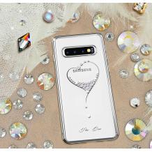 Луксозен твърд гръб KINGXBAR Swarovski Diamond за Samsung Galaxy S10 Plus - прозрачен със сребрист кант / сърце