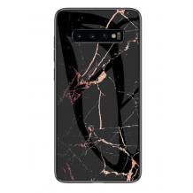 Луксозен гръб за Samsung Galaxy S10 Plus - мрамор / черен с розово