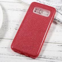 Силиконов калъф / гръб / TPU за Samsung Galaxy S10 Plus - червен / брокат