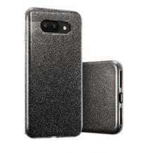 Силиконов калъф / гръб / TPU за Samsung Galaxy S10 - черен / брокат