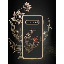 Луксозен твърд гръб KINGXBAR Swarovski Diamond за Samsung Galaxy S10 Plus - прозрачен със златист кант / червена рибка
