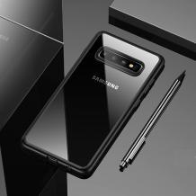 Луксозен силиконов гръб USAMS MANT Series TPU за Samsung Galaxy S10 - прозрачен / черен кант