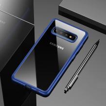 Луксозен силиконов гръб USAMS MANT Series TPU за Samsung Galaxy S10 - прозрачен / син кант