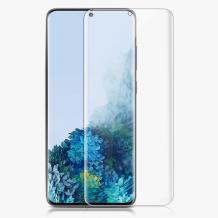 Удароустойчив извит скрийн протектор / 3D Full Cover Pet / за Samsung Galaxy A21s - прозрачен