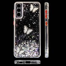 Луксозен твърд гръб със силиконов кант и брокат за Samsung Galaxy S21 Plus - прозрачен / пеперуди