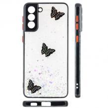 Луксозен твърд гръб със силиконов кант и брокат за Samsung Galaxy S21 Plus - прозрачен / пеперуди / черен кант