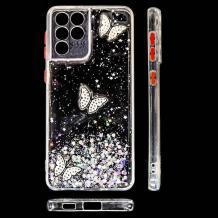 Луксозен твърд гръб със силиконов кант и брокат за Samsung Galaxy S21 Ultra - прозрачен / пеперуди