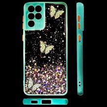 Луксозен твърд гръб със силиконов кант и брокат за Samsung Galaxy S21 Ultra - прозрачен / пеперуди / мента