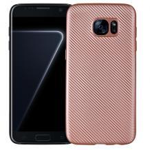 Силиконов калъф / гръб / TPU за Samsung Galaxy S7 G930 - Rose Gold / Carbon