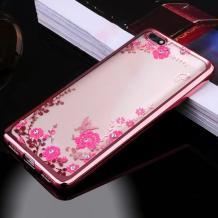 Луксозен силиконов калъф / гръб / TPU с камъни за Xiaomi RedMi 6A - прозрачен / розови цветя / Rose Gold кант